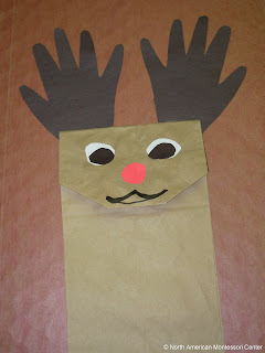NAMC Montessori Christmas Crafts and Activity Guide 3-6 reindeer paper bag puppet