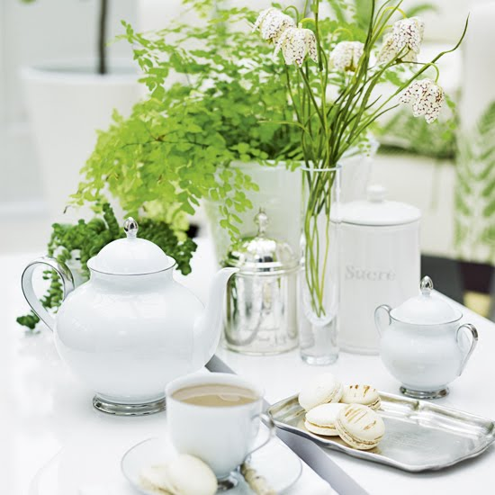 Create The Perfect, Elegant Table Setting For Morning Coffee With Crisp  White China, Silver Dishes And Bright Green Plants To Bring A Fresh  Spring Feel To ...