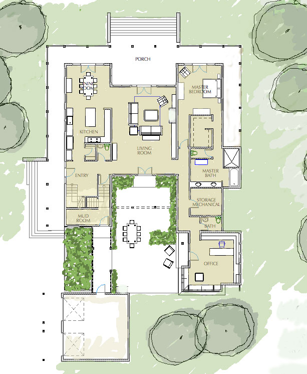 Central Courtyard House Plans | House Plans