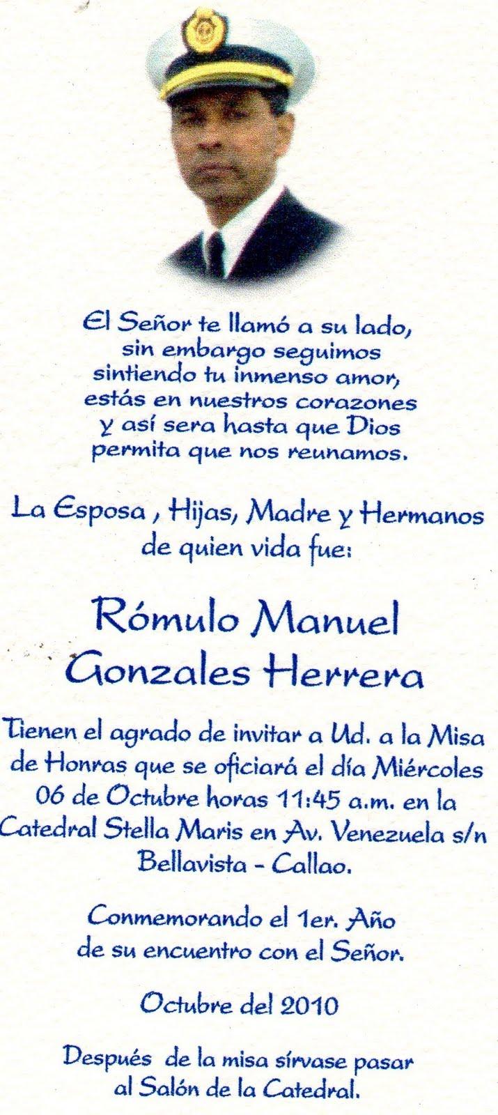 MISA DEL 1º AÑO DESAPARICION CC. ROMULO MANUEL GONZALES HERRERA