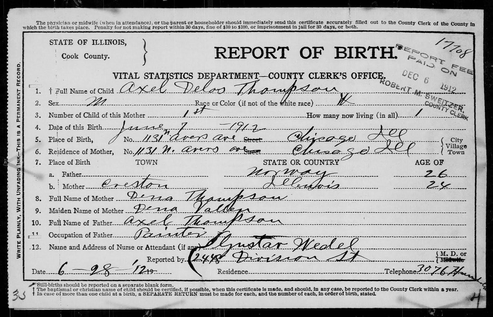 Finnestad ancestry august 2010 axel delos thompson birth certificate and birth register aiddatafo Gallery