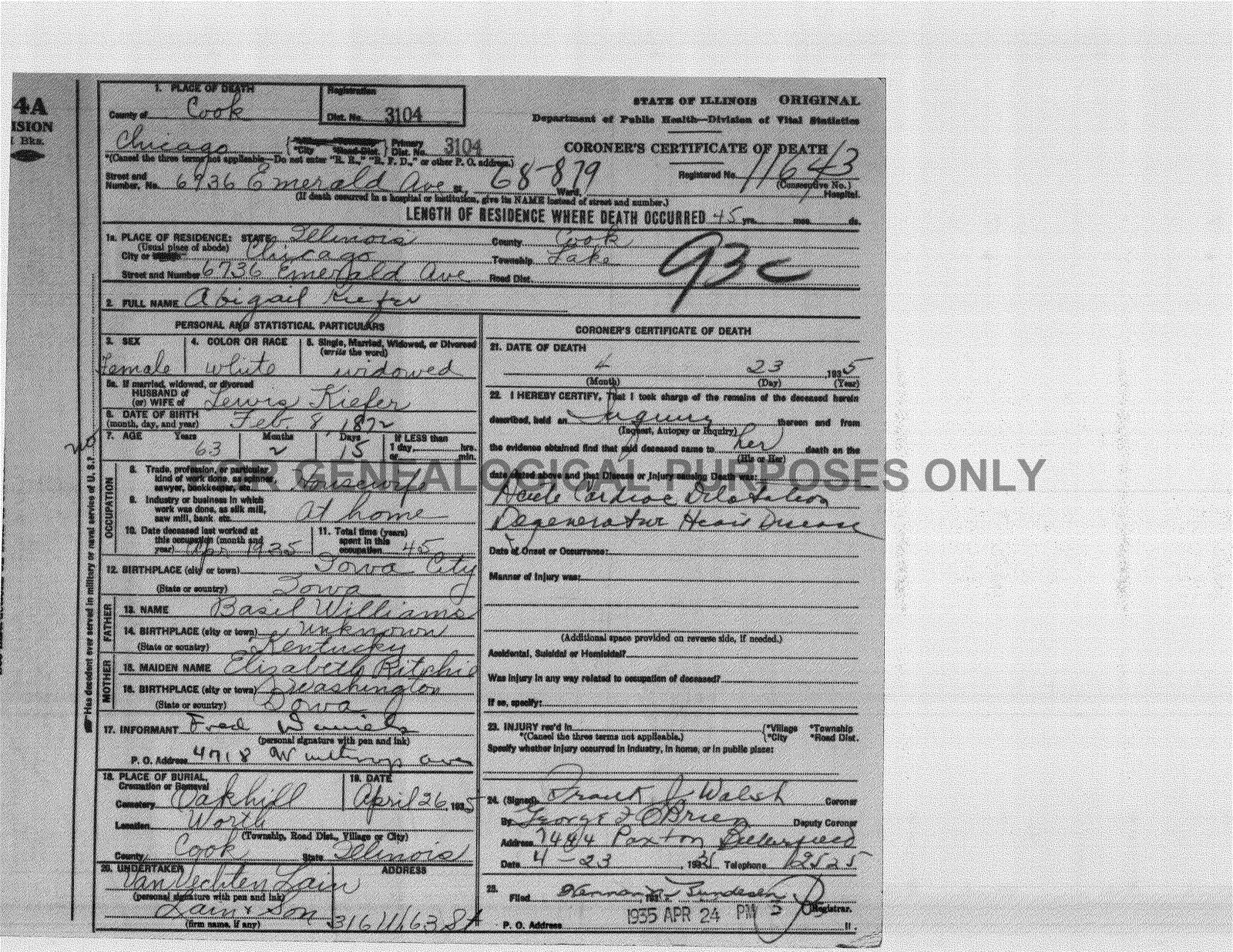 Emery daniels ancestry abigail williams emery daniels kiefer the death certificate correctly lists abigails parents basil williams and elizabeth richie who are also listed on abigails first marriage license to aiddatafo Images