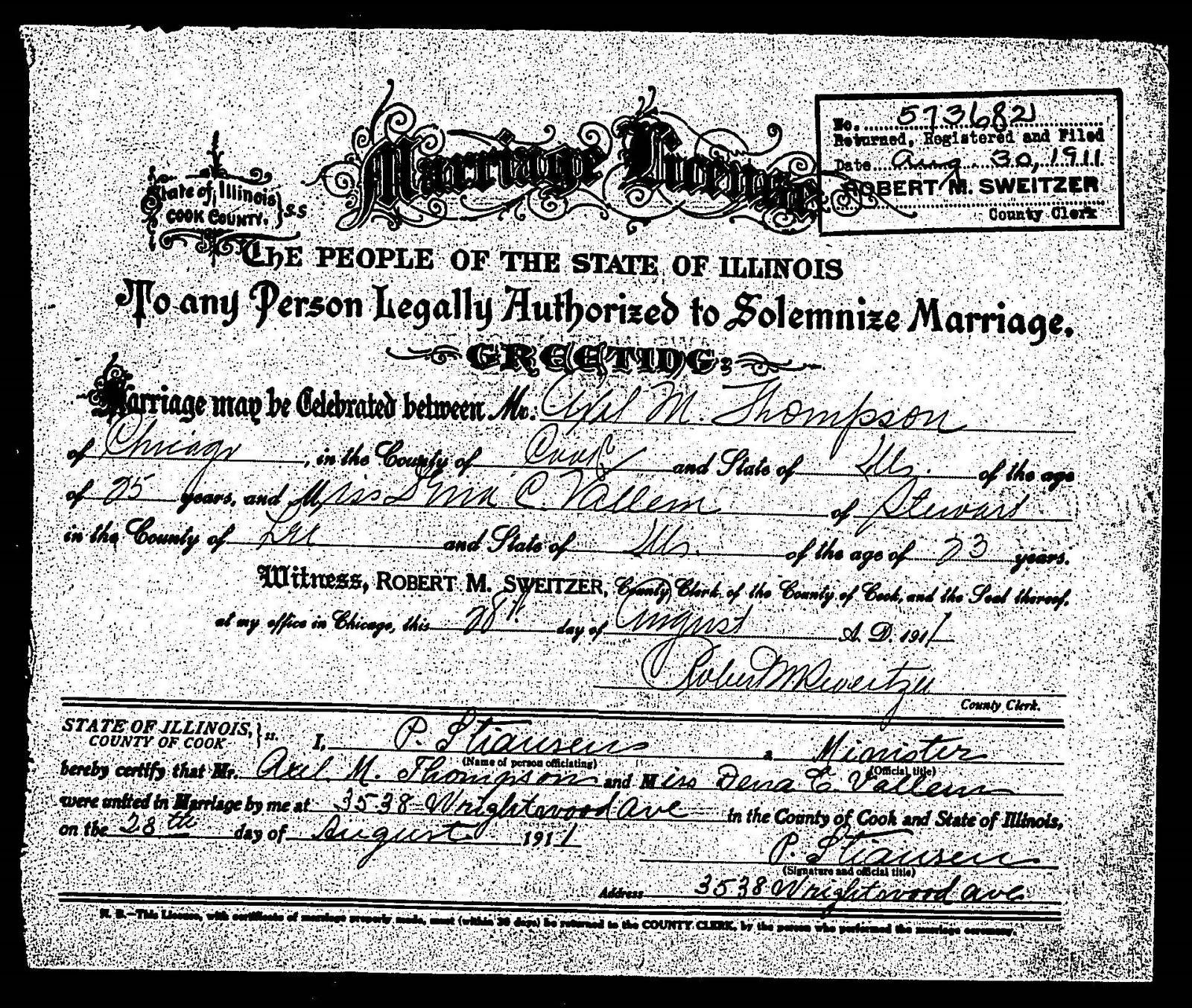 Copy Of Divorce Certificate: Finnestad Ancestry: Iverdena Vallem And Axel Thompson