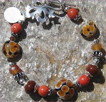 Autumn Leaves and Floral Lampwork Bracelet