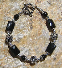 Faceted Black Onyx and Bali Silver Bracelet