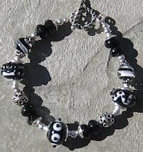 Black Onyx and Lampwork Bracelet