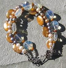 Triple Strand Pineapple Quartz, and Golden Pearl Bracelet
