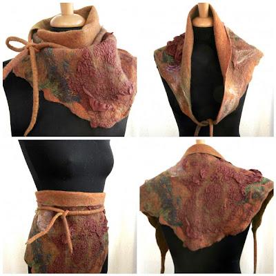 Wool,felt,felted,scarf,hip wrap,headscarf,kerchief