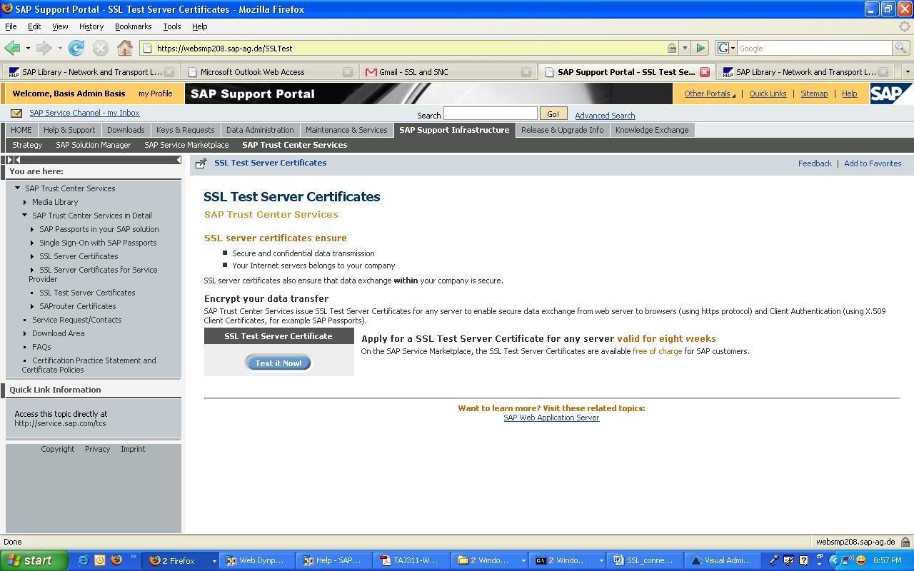 Sap Netweaver Portal Configuring The Use Of Ssl On The Sap J2ee Engine