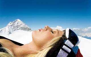 Blonde Enjoying The Winter Sun Girl Sunbathing Blue Sky HD Wallpaper