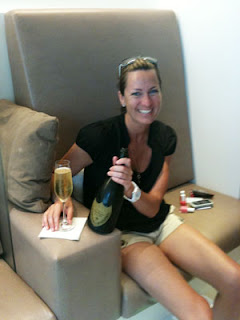Kirsti enjoying some champagne!
