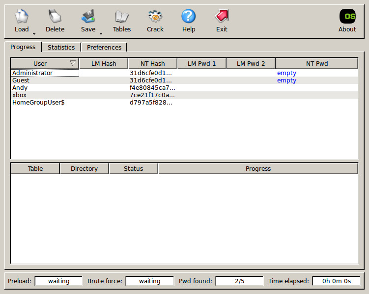 ophcrack xp tables download