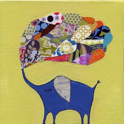 elefante de la suerte, papel maché, dibujos, collage