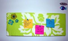 notas para el frigorífico, tablón de notas, telas, hecho a mano
