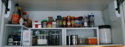 orden, cocina, armario especias