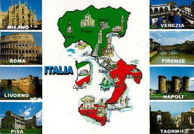 Postcards of nations italy map italy map gumiabroncs Gallery