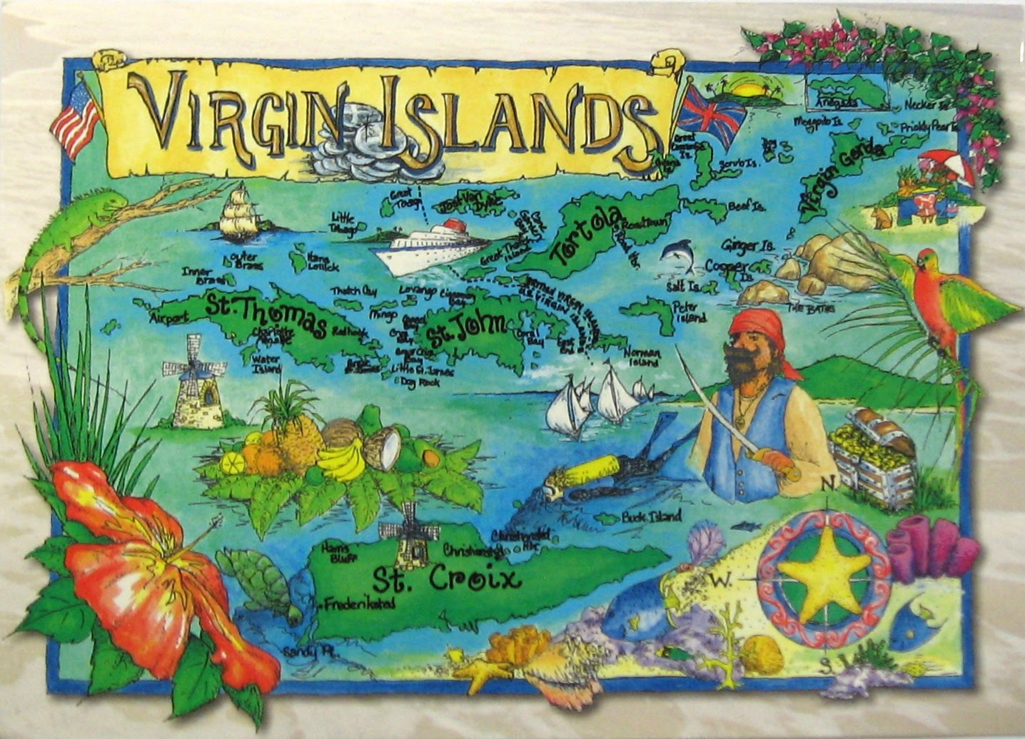 Postcards of Nations US Virgin Islands map