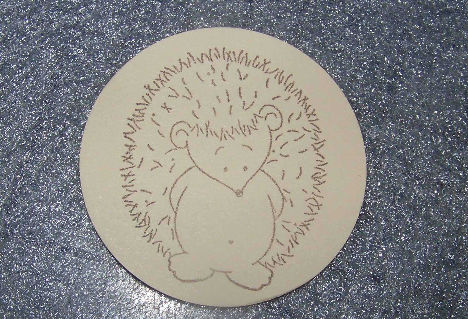 Flesh colored cardstock - Punch A Sweet Leaf Colored Circle Using Same 2 1 2 Inch Punch Dry Emboss It In A Grid Pattern And Sand Attach Hedgehog To The Center And Then Glue Circle