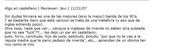 letra de nirvana en castellano: