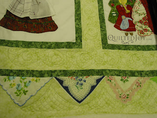 Hankie Obsession quilt getting the custom treatment - QuiltedJoy.com