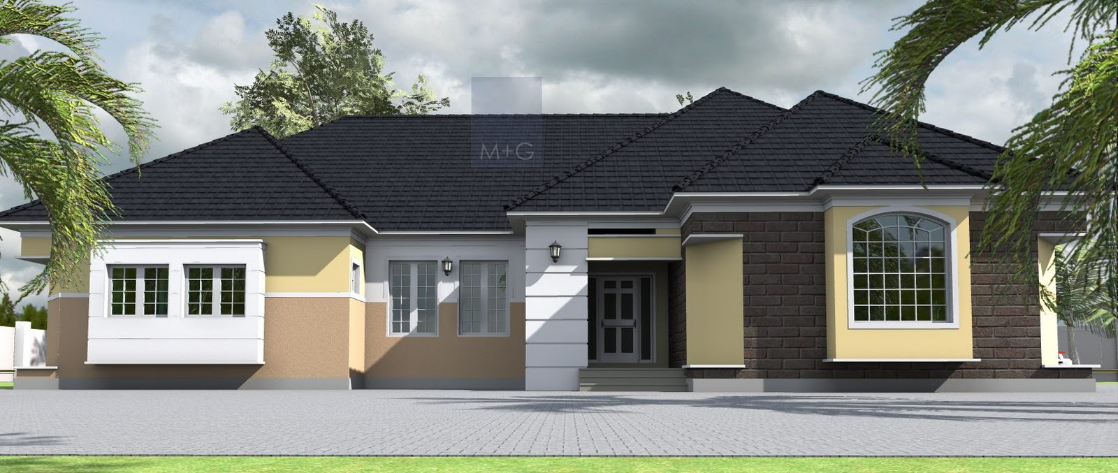 Contemporary Nigerian Residential Architecture: 4 bedroom Bungalow