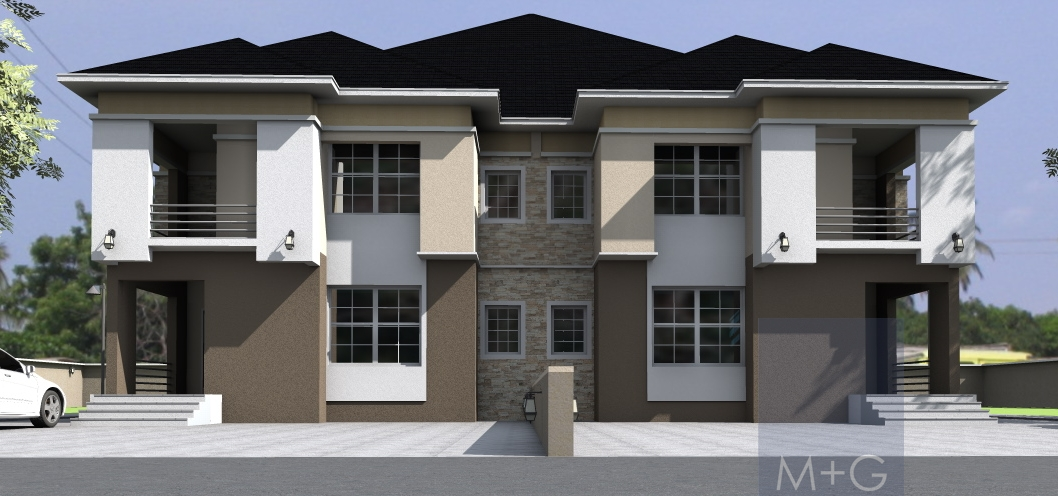 Contemporary nigerian residential architecture 5 bedroom for Modern duplex house plans in nigeria