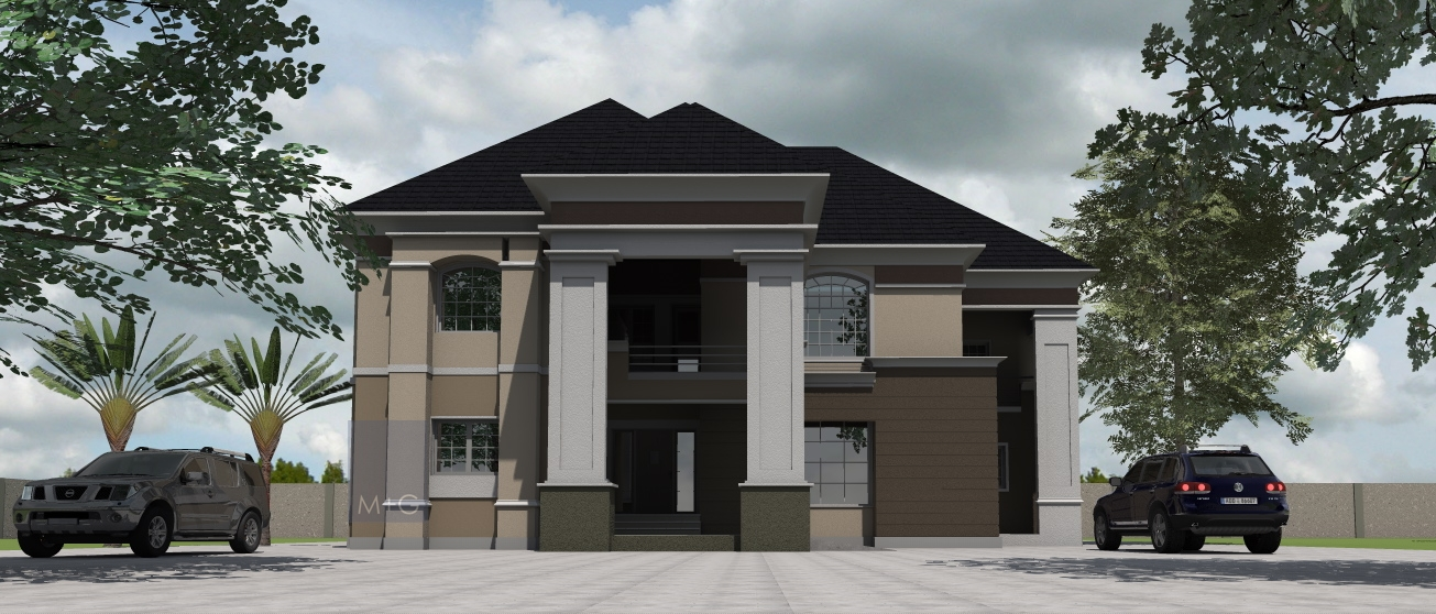 Contemporary nigerian residential architecture 5 bedroom for Four bedroom maisonette plans