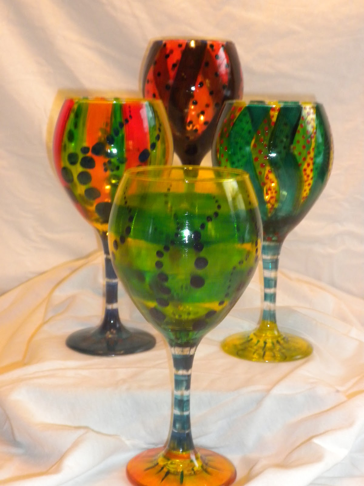 The potato sack hand painted wine glasses Images of painted wine glasses