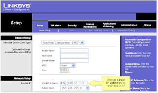 Setup Page of Linksys Wireless G Router