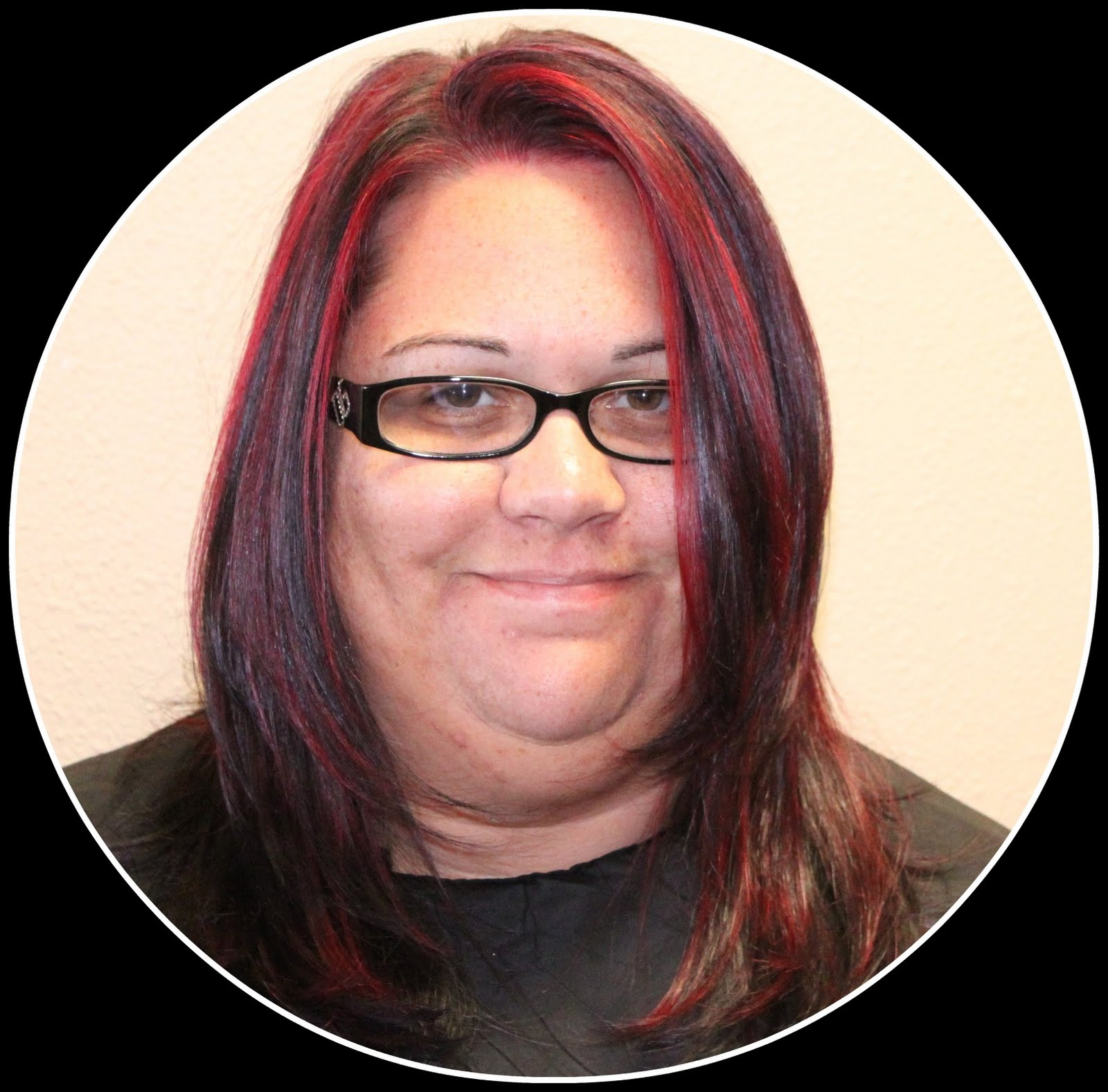Dark Violet Red Brown Hair Color Over her blonde and brown