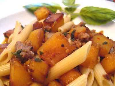 Stacey Snacks: Autumn Pasta w/ Sausage & Butternut Squash