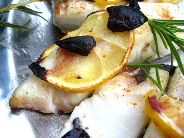 Stacey Snacks: Roasted Halibut w/ Lemons & Olives