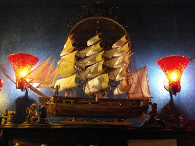 Model ships adorn the walls