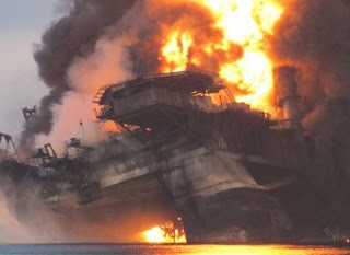 BP oil platform burns in the Gulf of Mexico