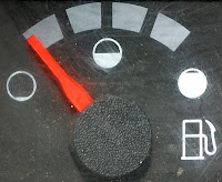 Gas gauge nearing empty