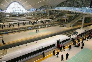 Chinese high-speed trains at the station