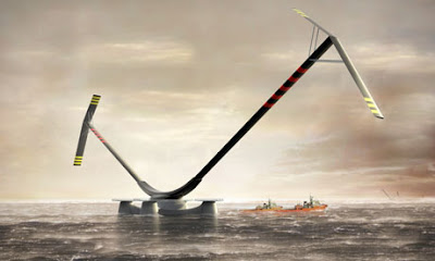 Artist depiction of Aerogenerator pffshore wind turbine