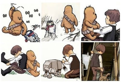 A.A. Milne-style illustrations of Winnie-the-Pooh and Chewbacca hybrid