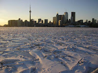 Frozen harbor in Toronto, Canada