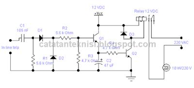 rangkaian lampu indikator bunyi telephone