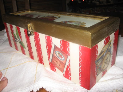 caixa de chá, pintura em renda