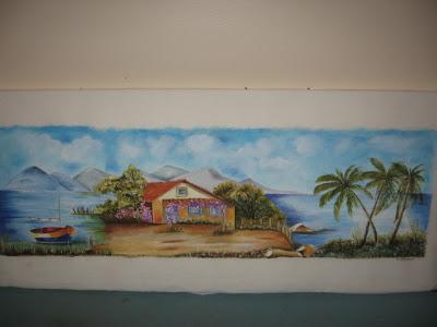 paisagem pintado no tecido