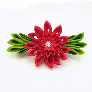 Silk Kanzashi Barrette by Gochemoche