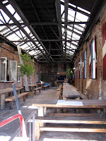 the retractable roof at radegast beer garden in brooklyn