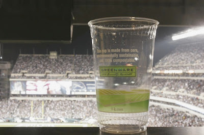 Corn-based compostable cups by GreenWare at Lincoln Financial Field in Philadelphia