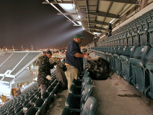 workers separate trash from plastic to be recycled at lincoln financial field in philadelphia