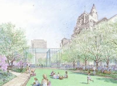 rendering of public park at dilworth plaza, philadelphia city hall