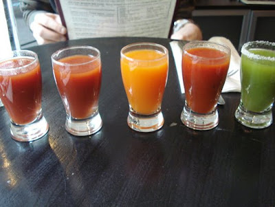 flight of bloody marys at alfa bar, philadelphia