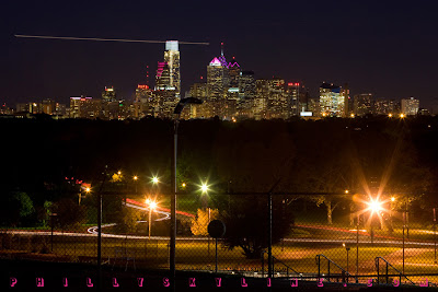philadelphia skyline pink for breast cancer awareness