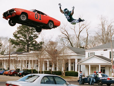 brian dawkins tackles the general lee dukes of hazard